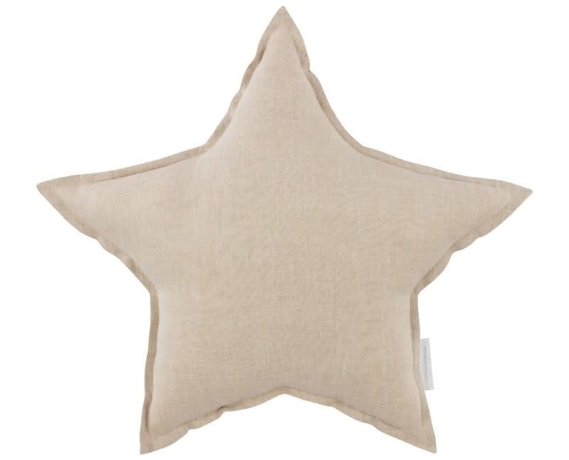Linen star pillow natural-1