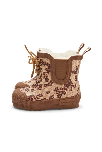 Thermo boots print winter leaves dark red