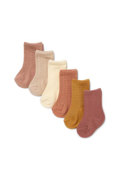 Pointelle socks sahara shades - 6 pack
