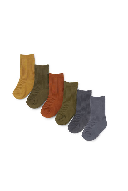 Rib socks butterscotch - 6 pack