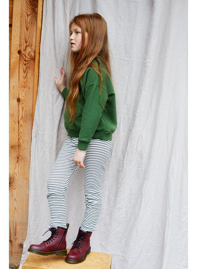 Mingo | rib legging | stripes white / black