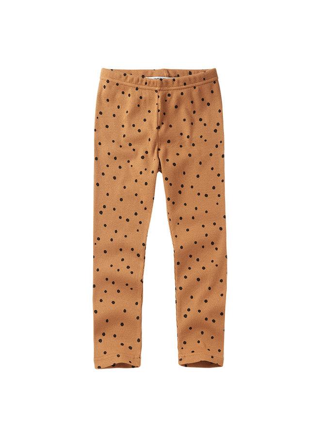 Mingo | rib legging | dots caramel / black