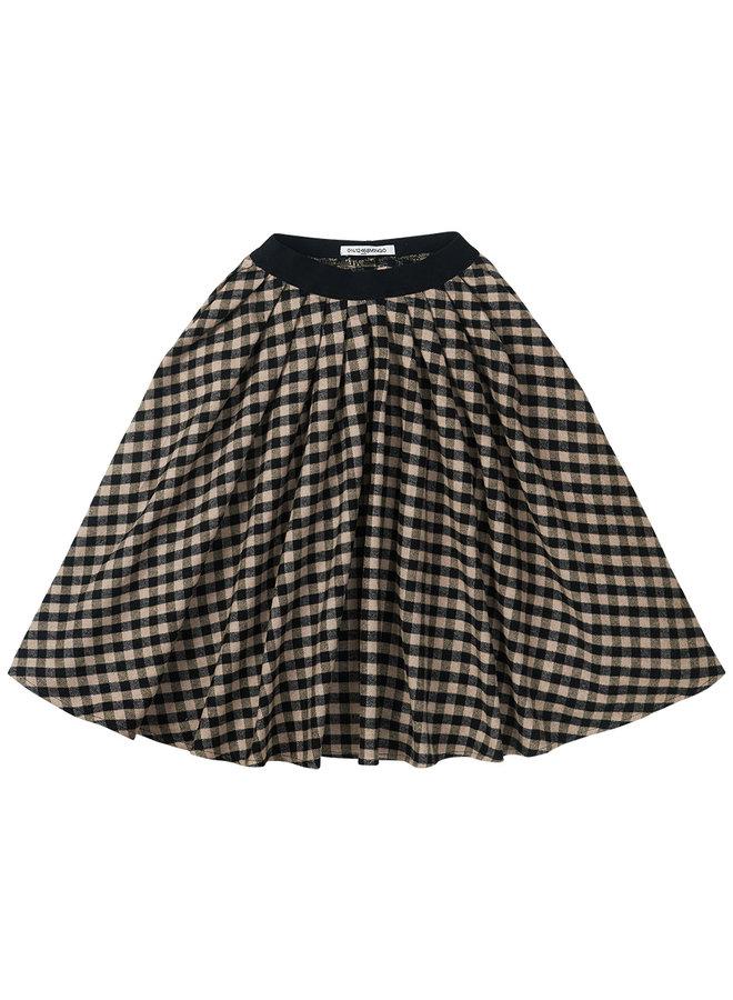 Mingo   flannel checked midi skirt   black / caramel