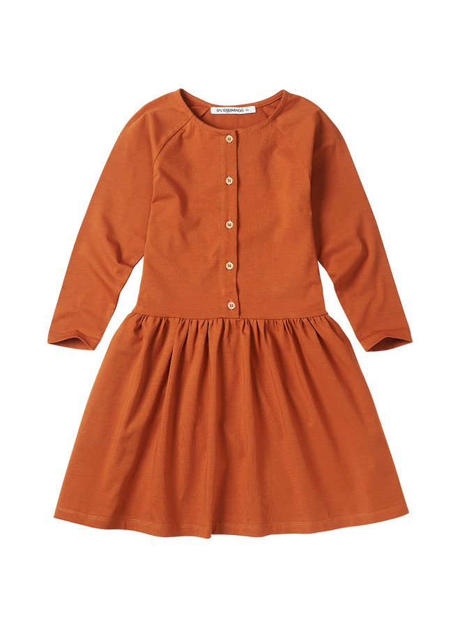 Mingo   button dress   dark ginger