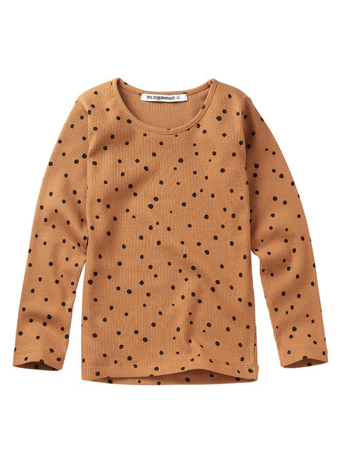 Mingo | rib top | dots caramel / black