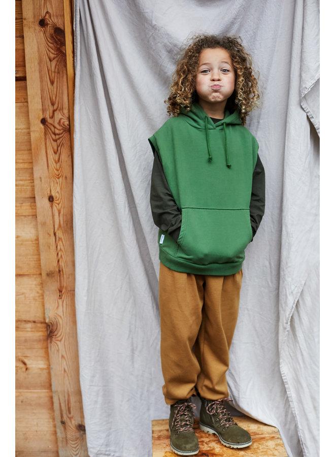 Mingo | sleeveless hoodie | moss green