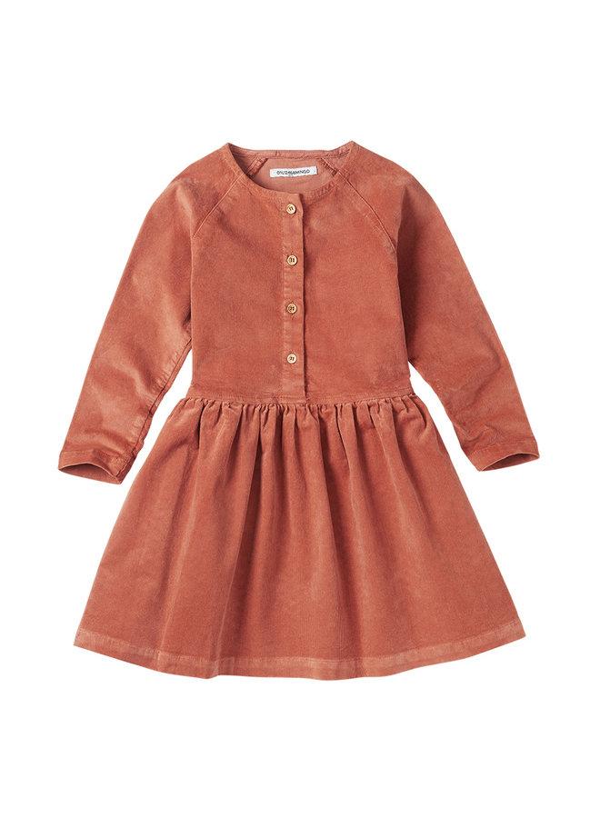 Mingo   corduroy button dress   light terracotta
