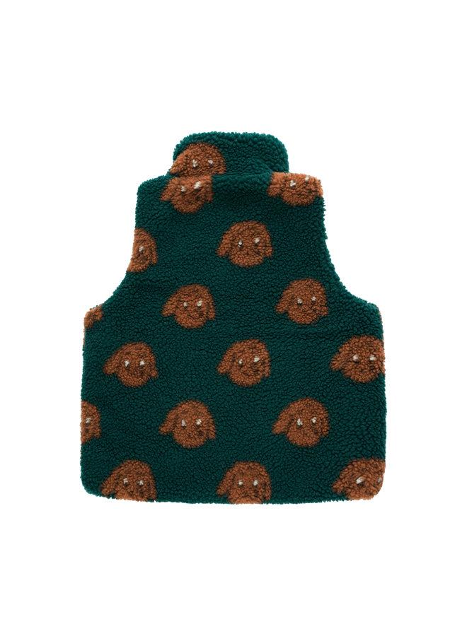Tinycottons   tiny dog sherpa vest   dark green/sienna