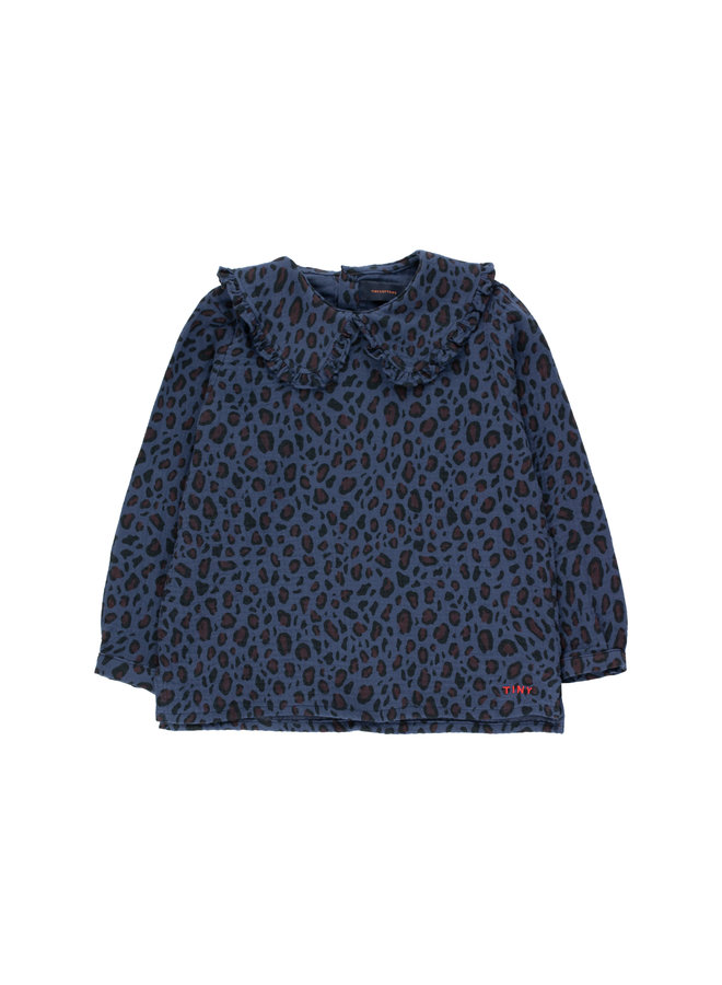 Tinycottons | animal print shirt | light navy/dark brown