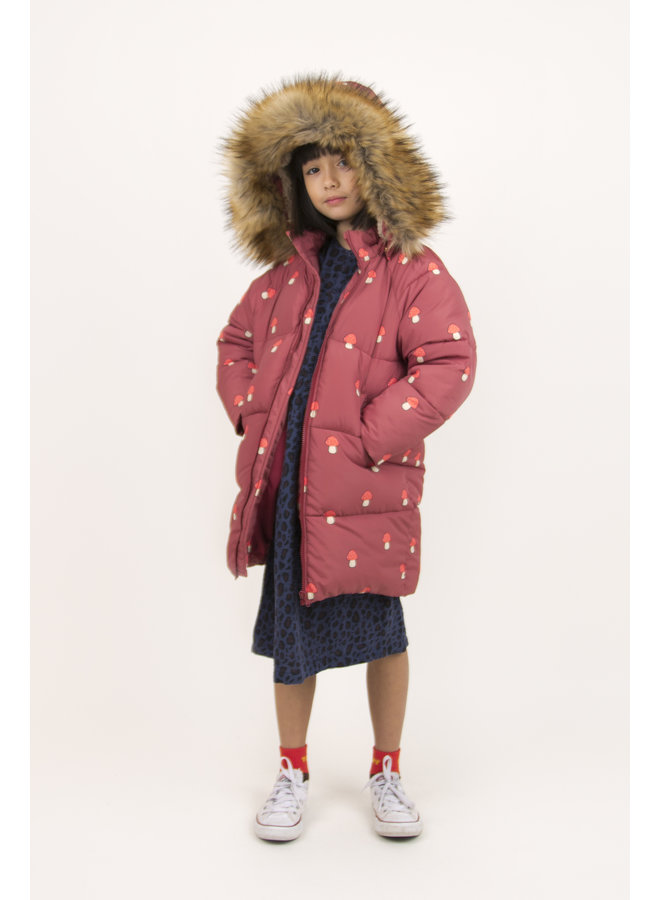 Tinycottons | mushrooms padded jacket | dark brown/red