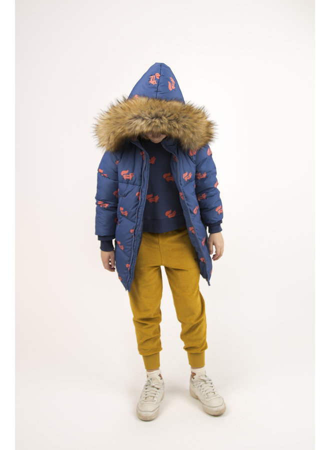 Tinycottons   foxes padded jacket   light navy/sienna