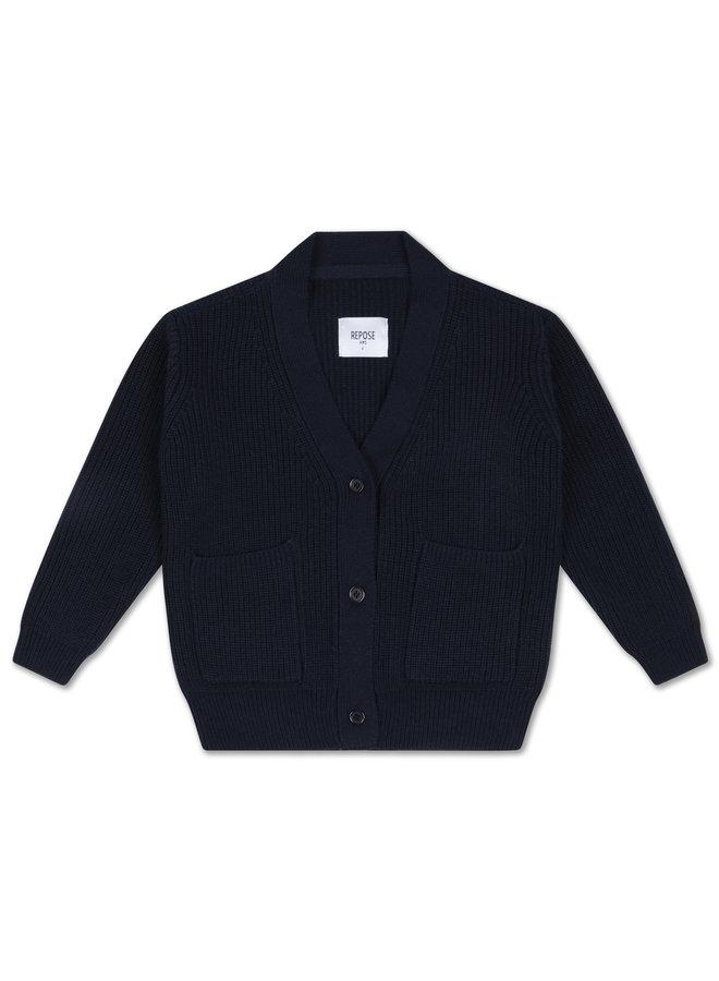 Repose AMS | knit grandpa cardigan | navy blue