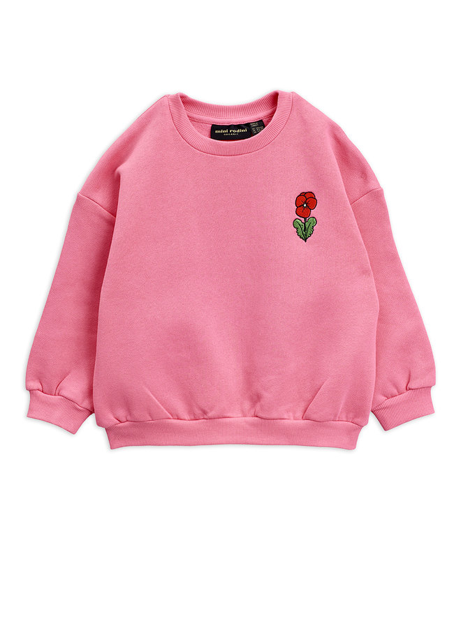 Mini Rodini | viola emb sweatshirt | pink