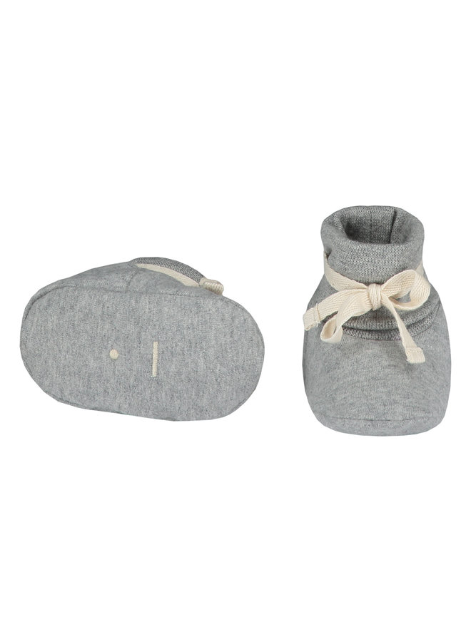 Gray Label | baby ribbed booties | grey melange