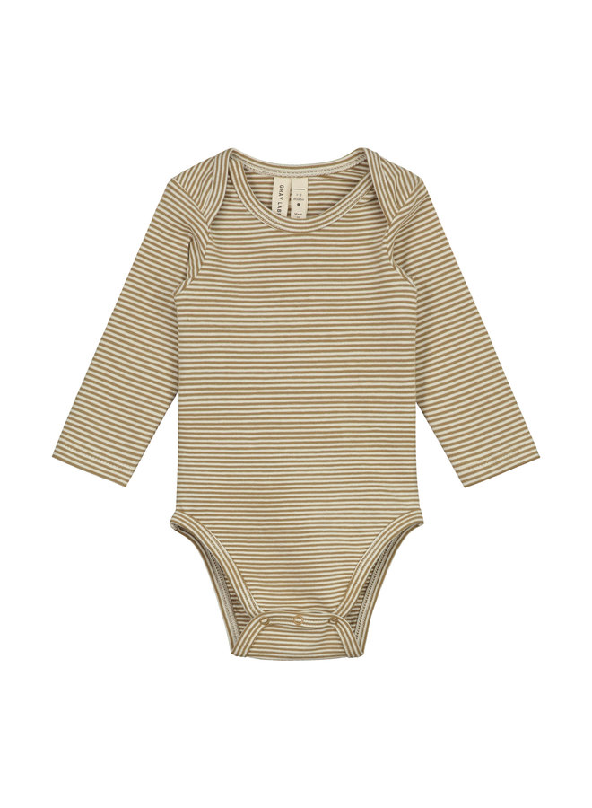 Gray Label | baby l/s onesie | peanut/cream