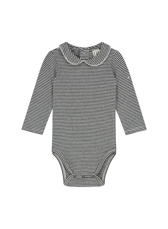 Gray Label | baby collar onesie | nearly black/cream