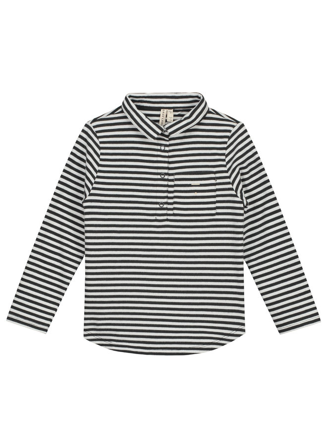 Gray Label | l/s polo tee | nearly black/off white