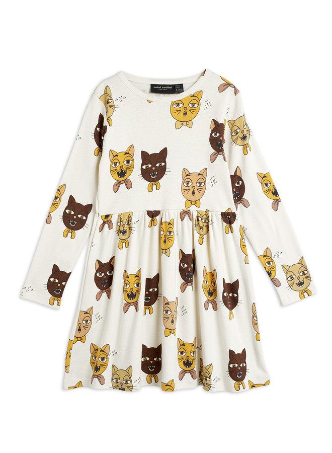 Mini Rodini | cat choir aop ls dress | offwhite