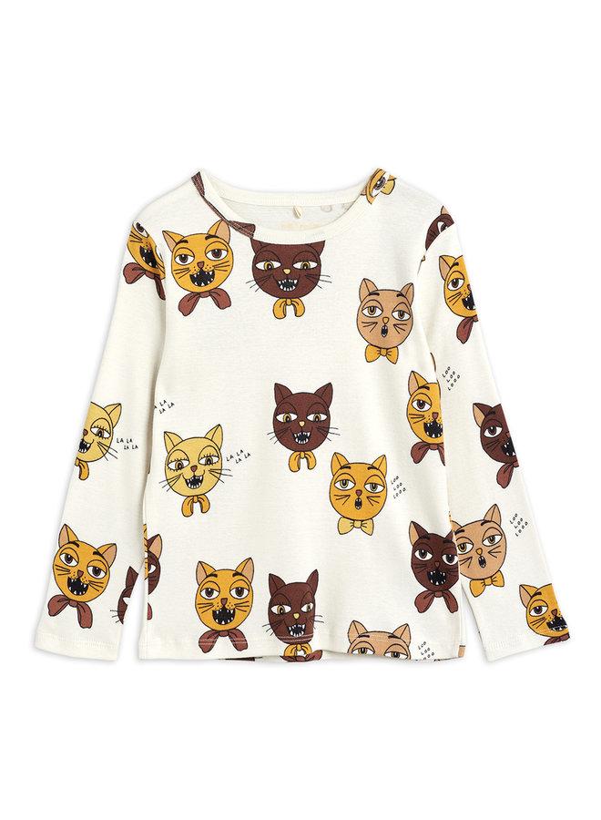 Mini Rodini | cat choir aop ls tee | offwhite