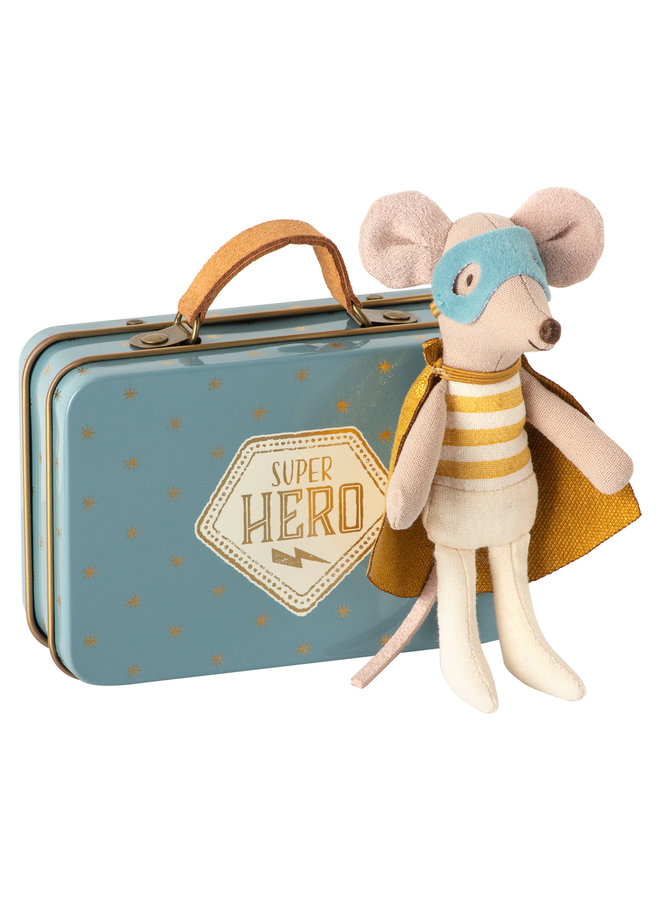 Maileg | superhero mouse in suitcase | little brother