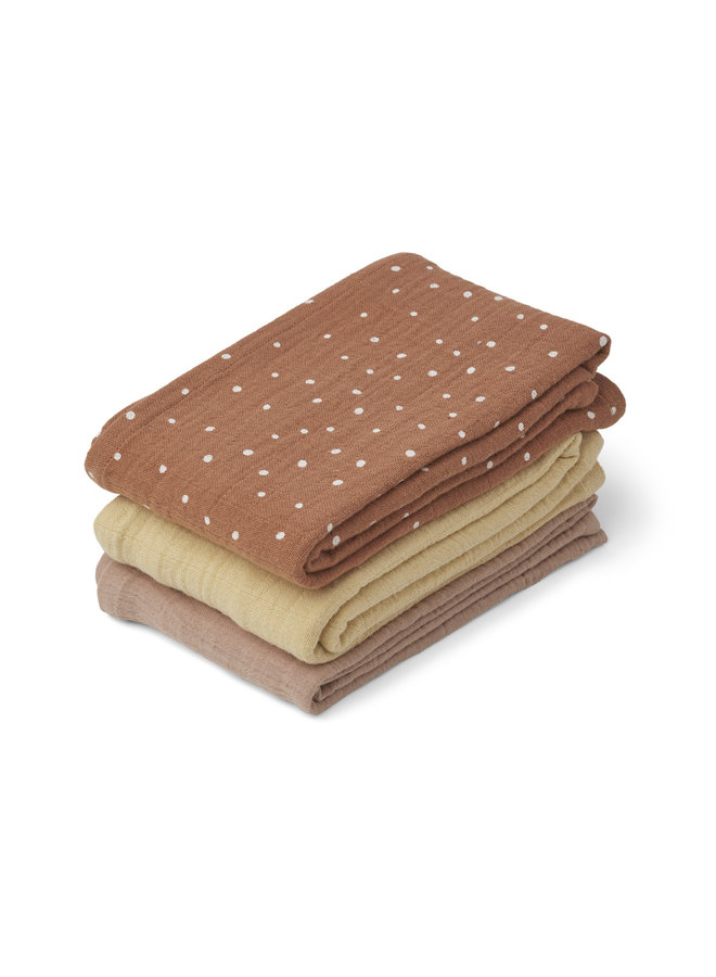 Liewood | line muslin cloth - 3 pack | confetti terracotta mix