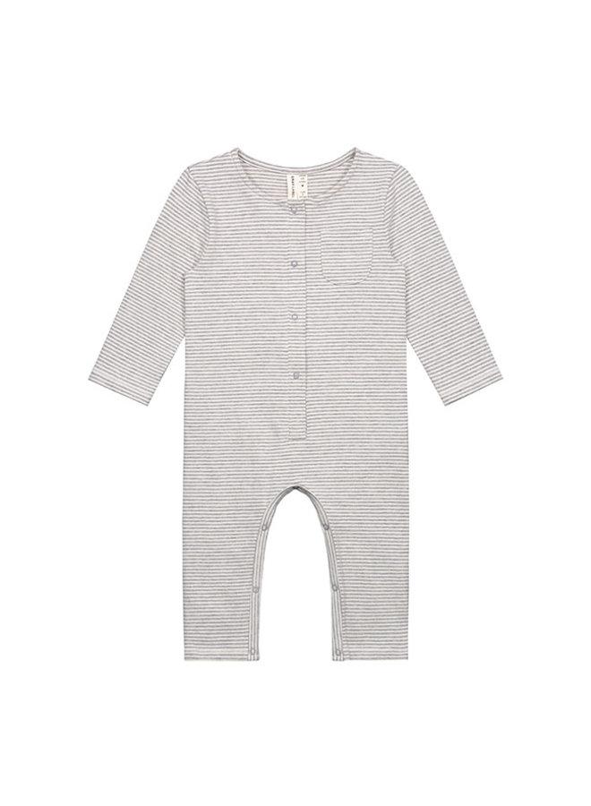 Gray Label | baby l/s playsuit | grey melange/cream