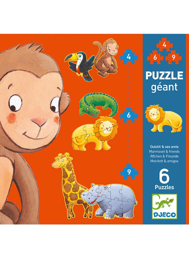 Djeco | puzzel | marmoset and friends | 4-6-9 stukjes