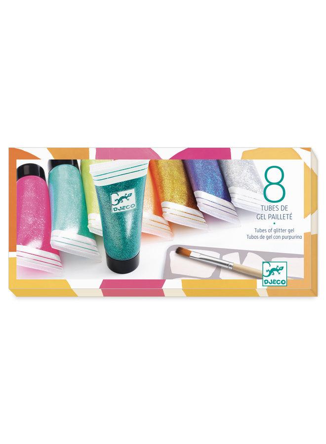 Djeco   glitter gel   8 tubes