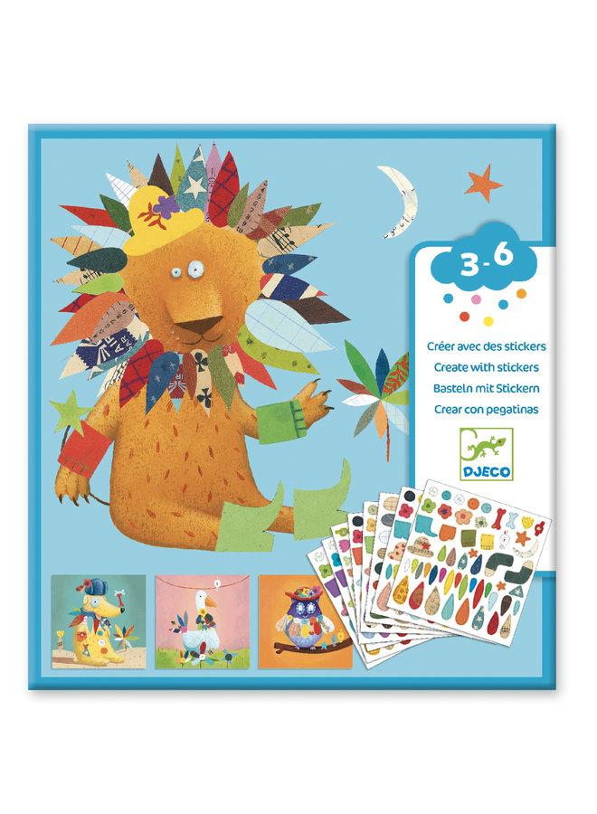 Djeco | creatief met stickers | dieren