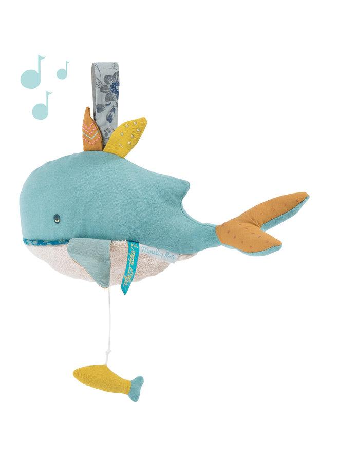 Moulin Roty   muziekknuffel   walvis