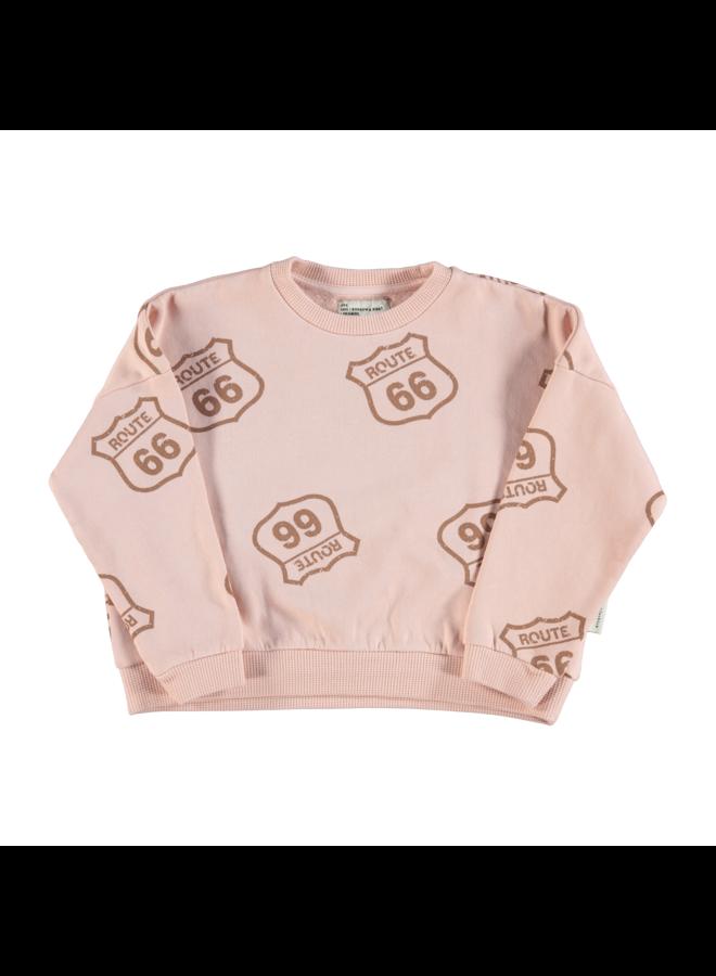 Piupiuchick   unisex sweatshirt   pale pink with route