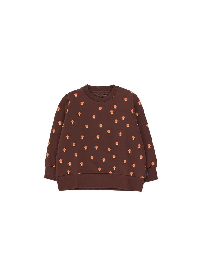 Tinycottons | mushrooms sweatshirt | ultra brown/red