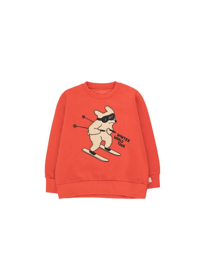 Tinycottons | skiing dog sweatshirt | red/cappuccino