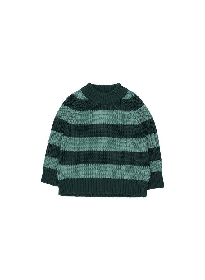 Tinycottons | stripes sweater | dark green/dark pistacchio