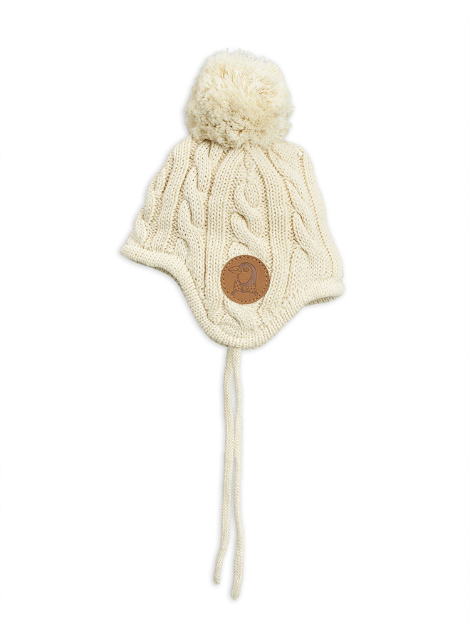 Mini Rodini | cable knitted baby hat | offwhite