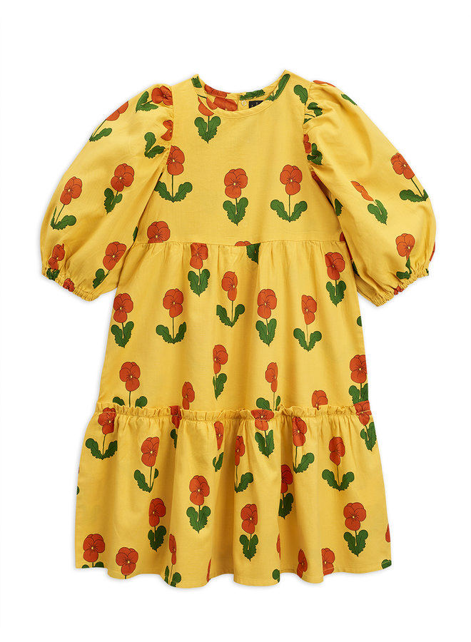 Mini Rodini   violas woven puff sleeve dress   yellow