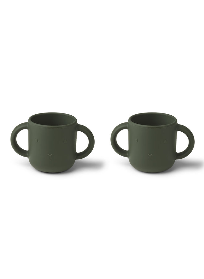 Liewood | gene silicone cup | 2 pack | rabbit hunter green