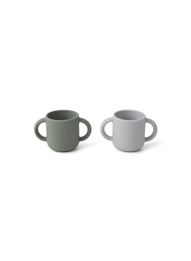Liewood | gene silicone cup 2 pack | rabbit faune green