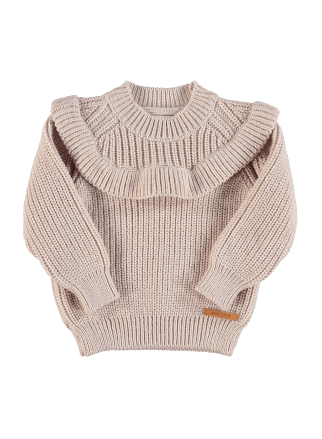 Piupiuchick | knitted sweater with frills | pale pink