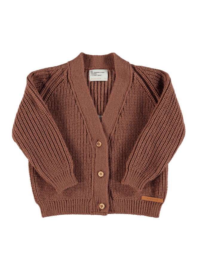 Piupiuchick | knitted v-neck jacket | pecan nut with embroidery