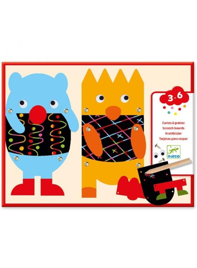Djeco | kraskaarten voor de kleintjes | scratch the little monsters