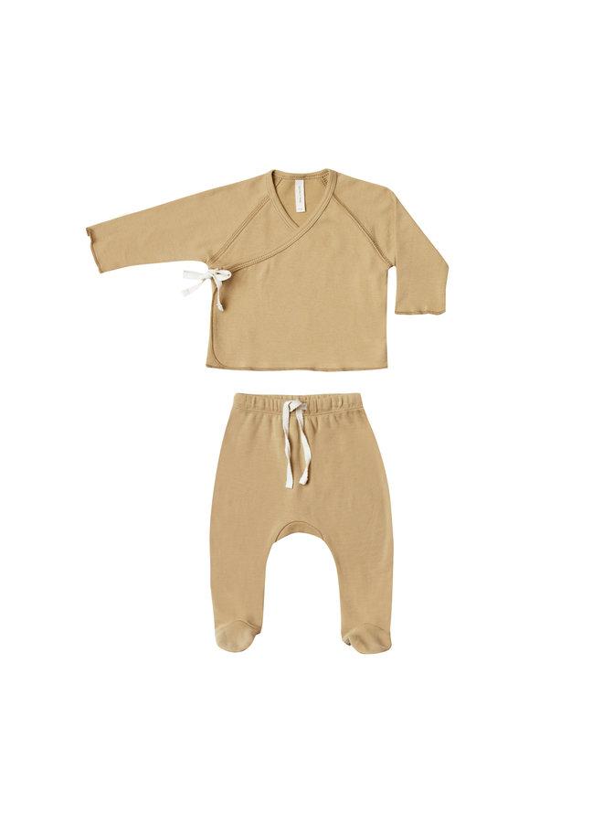 Quincy Mae | set kimono top en broek met voetjes | honey