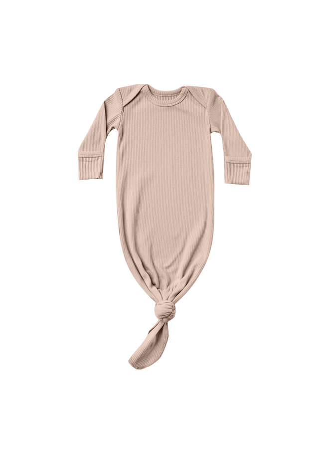 Quincy Mae | ribbed knotted baby gown | rose