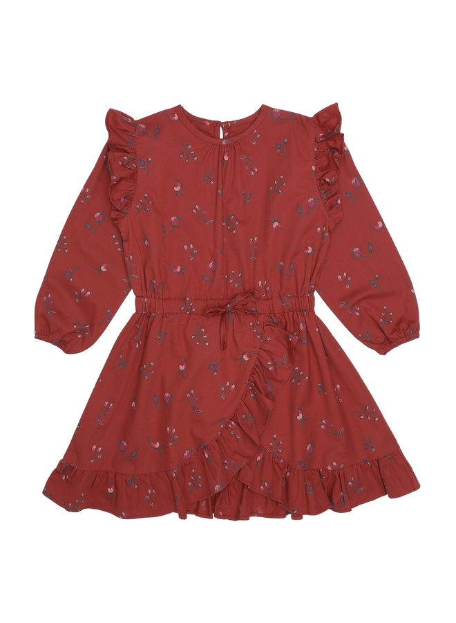 Soft Gallery | ea dress | red ochre | aop cloudberry
