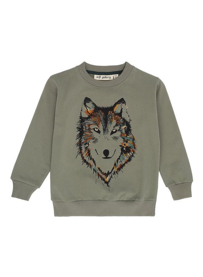 Soft Gallery | konrad sweatshirt | vetiver | husky embroidery