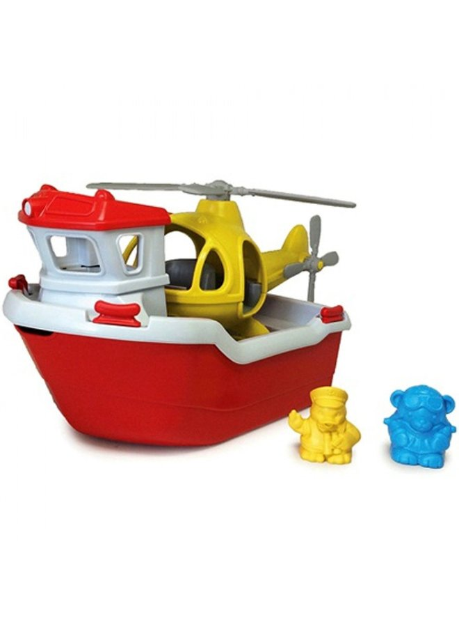 Green toys | rescue boat with helicopter