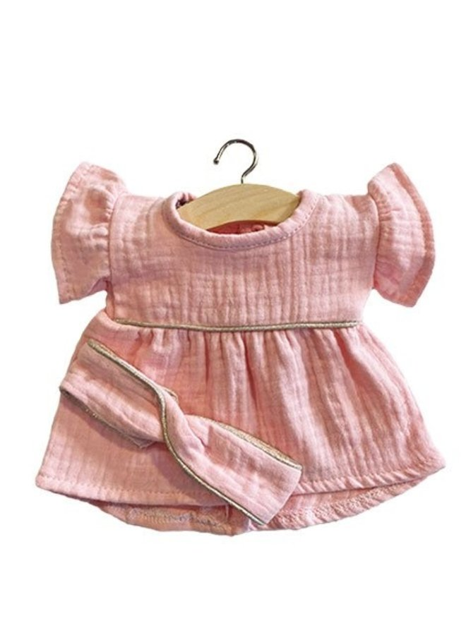 Minikane | dolls clothing | robe daisy en coton double gaze rose tendre