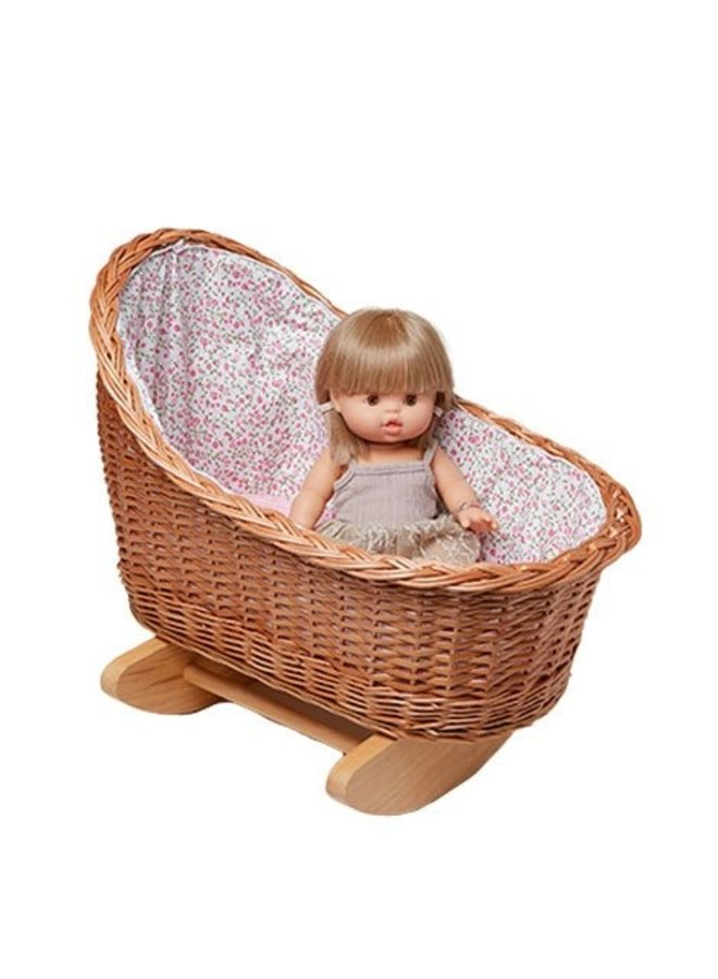 Minikane | wooden and ratan dolls cradle