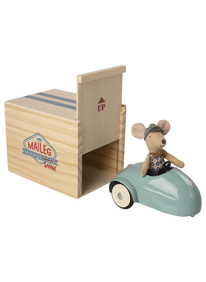Maileg | mouse car with garage | blue
