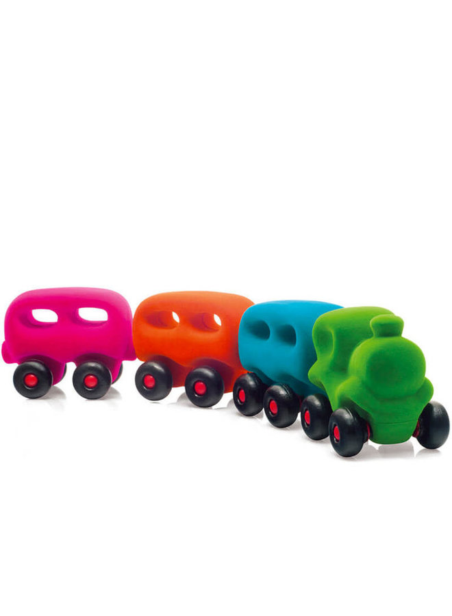 Rubbabu | trein met 3 wagonnetjes